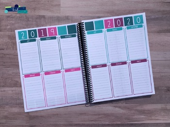 Editable Weekly Lesson Planner 17-18: Teal, Magenta, Aqua