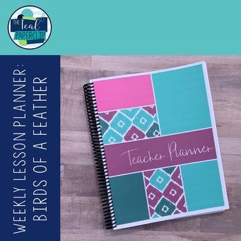 Editable Weekly Lesson Planner 18-19: Teal, Magenta, Aqua