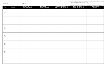 Weekly Lesson Planner-at-a-Glance