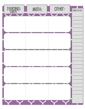 Weekly Lesson Planner for Binder