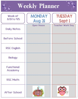 Weekly Lesson Planner for Resource Room Teacher