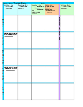 Weekly Lesson Planner for Special Education