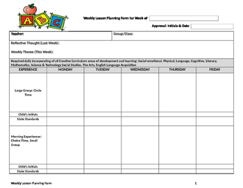 Weekly Lesson Planning Form Infant to Preschool