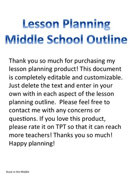 Weekly Lesson Planning Outline - Middle Level