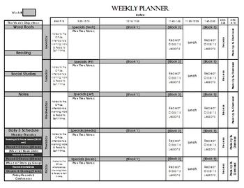 Weekly Lesson Planning Pages (Fully Editable)