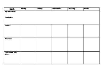 Weekly Lesson Plans 5 subjects (Daily 5 included)