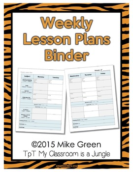 Weekly Lesson Plans Binder