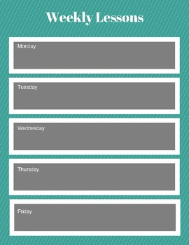 Weekly Lesson Plans Freebie