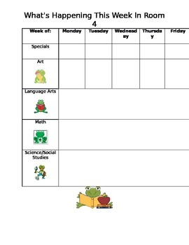 Weekly Lesson Plans Frog Theme
