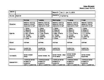 Weekly Lesson Plans - Multi-week outline of Lessons