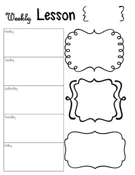 Weekly Lesson Plans - Teacher Binder