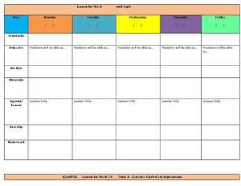 Math Weekly Lesson Plans Template