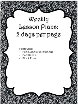 Weekly Lesson Plans (Workshop, Centers, Co-Teaching, Para Ed)