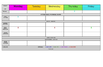 Weekly Lesson Plans at a Glance