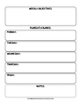 Weekly Lesson Plans at a Glance Template