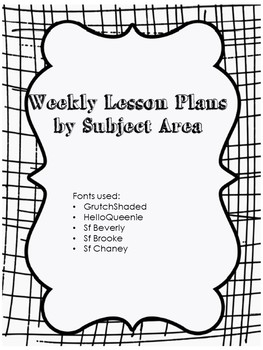 Weekly Lesson Plans by Subject Area (Special Ed)
