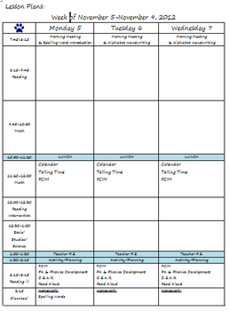 Weekly Lesson Template