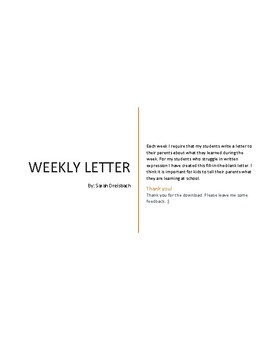 Weekly Letter Home