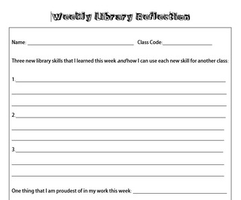 Weekly Library Skills Reflection Worksheet - Editable