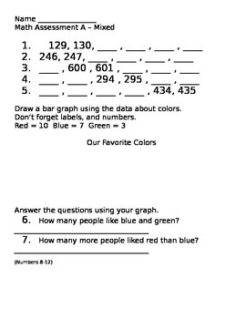 Weekly Math Assessments Weeks 1-3