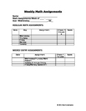 Weekly Math Assignments Coversheet Template