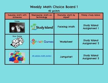 Weekly Math Choice Board