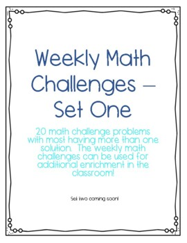 Math Enrichment Problem of the Week.