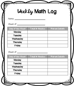 Weekly Math Fact Log!