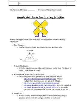 Weekly Math Facts Log (Multiplication)