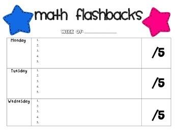 Weekly Math Flashback Chart