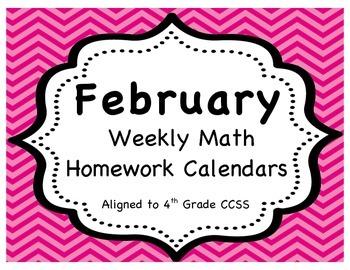 Weekly Math Homework Calendar - February (CCSS Aligned)