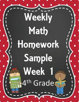 Weekly Math Homework- Spiral Review 4th Grade