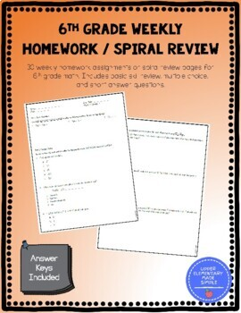 Weekly Math Homework and Spiral Review
