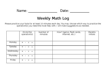 Weekly Math Log
