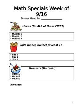 Weekly Math Menu Template
