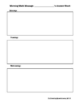Weekly Math Message Answer Sheet