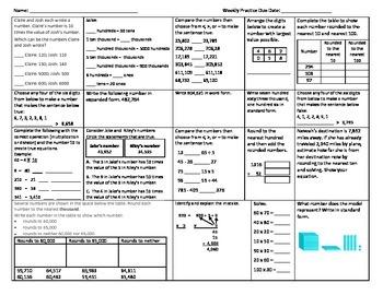 Weekly Math Practice NBT.1 NBT.2 and NBT.3