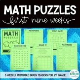 Math Puzzles for 2nd Grade - Math Brain Teasers, Crossword, Logic Puzzle - Set 1