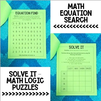 Math Puzzles for 2nd Grade - Math Brain Teasers, Crossword, Logic Puzzle - Set 2
