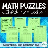 Math Puzzles for 2nd Grade - Math Brain Teasers, Crossword, Logic Puzzle - Set 3