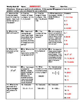 Weekly Math Review #3 and #4