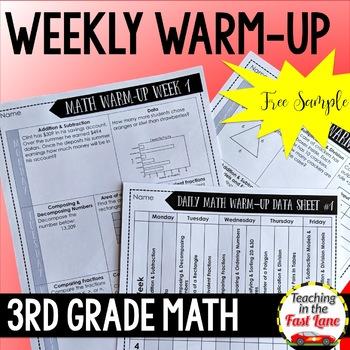 Weekly Math Review 3rd Grade FREE One Week Sample