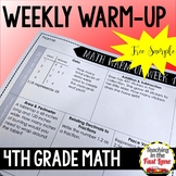 Weekly Math Review 4th Grade - One Week FREE Preview