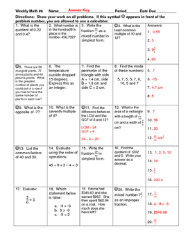Weekly Math Review #5 and #6