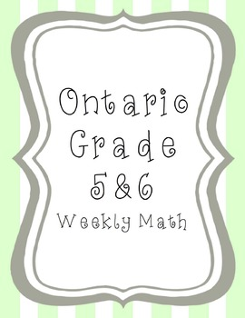 Grade 6 Number Sense and Data: Week 2 (Common Core and Ont