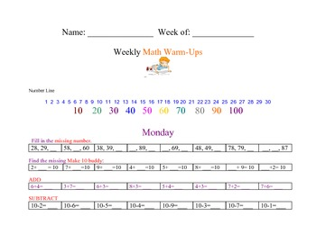 Weekly Math Warm Ups: Number Sequence, Make 10, Add, Subtract