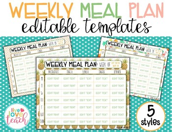 weekly meal plan editable template