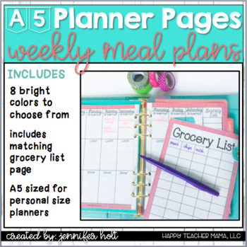 Weekly Meal Planner {A5 size}