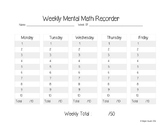 Weekly Mental Math Recorder