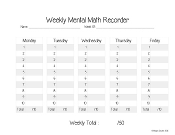 Weekly Mental Math Recorder